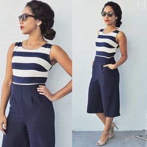 Xhiliration Navy Blue Nautical Stripe Jumpsuit